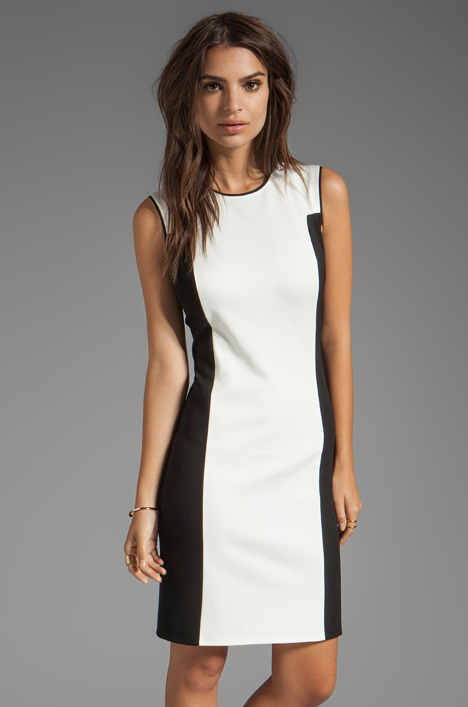 Halston Heritage Colorblock Ponte Dress in Cream/Black
