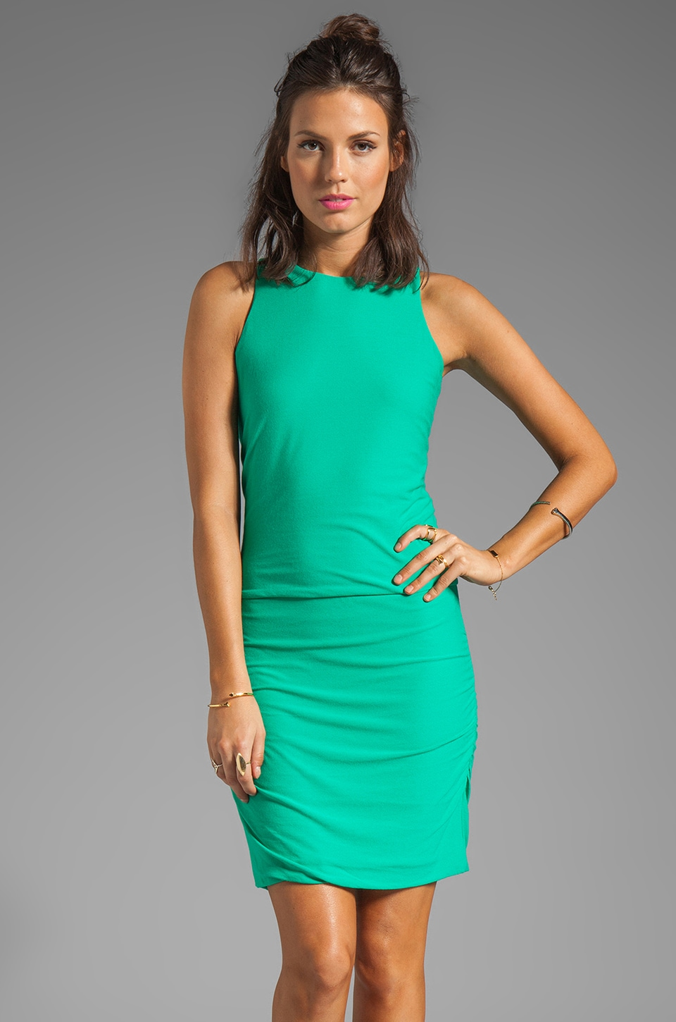 Halston Heritage Gathered Hip Crewneck Dress in Spearmint