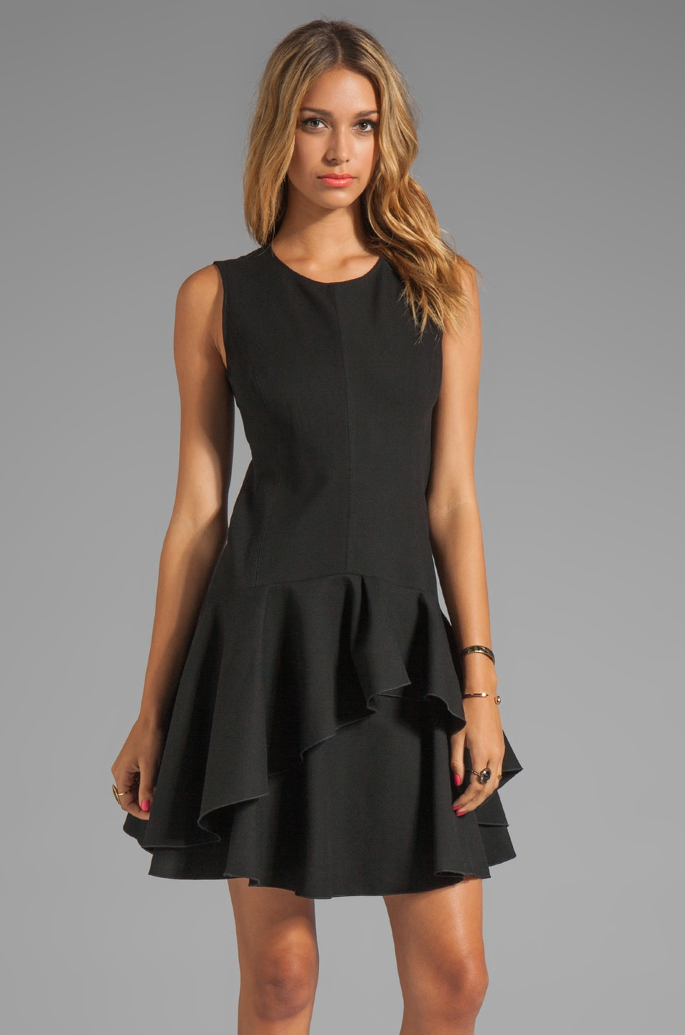 Halston Heritage Sleeveless Scoop Neck Ponte Dress in Black