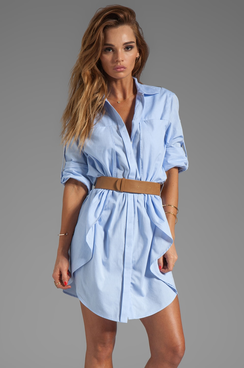 Belted Shirt Dress Ejn Dress