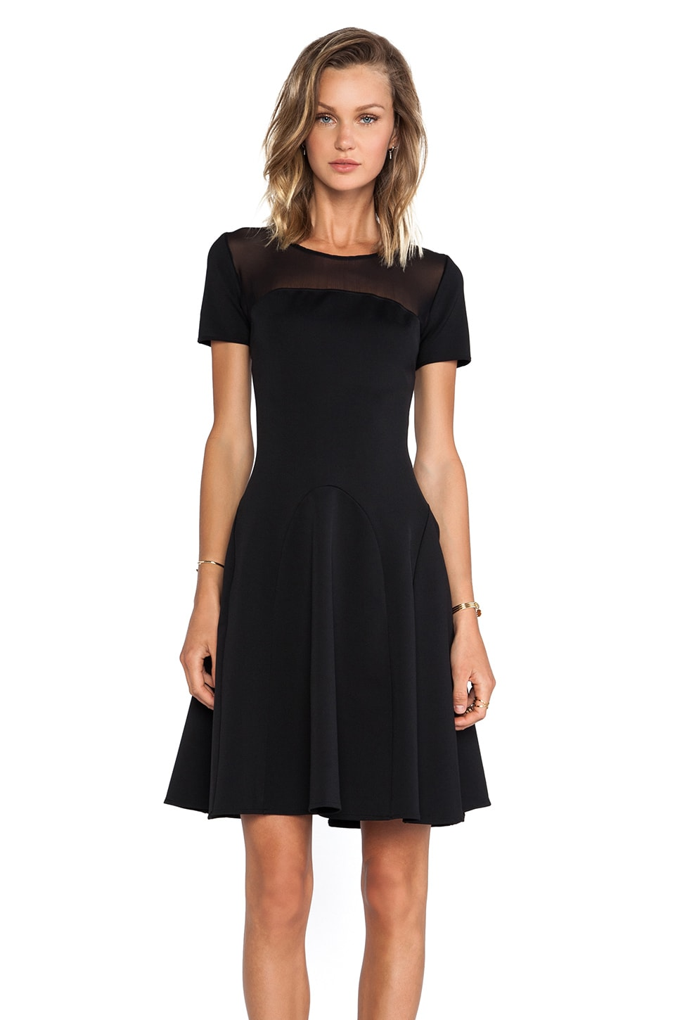 Halston Heritage Short Sleeve Fit/Flare Ponte Dress With Mesh Detail in Black