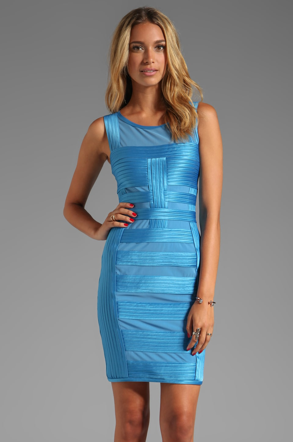 Halston Heritage Sleeveless Dress With Charmeuse Gradated Stripes Detail in Blue