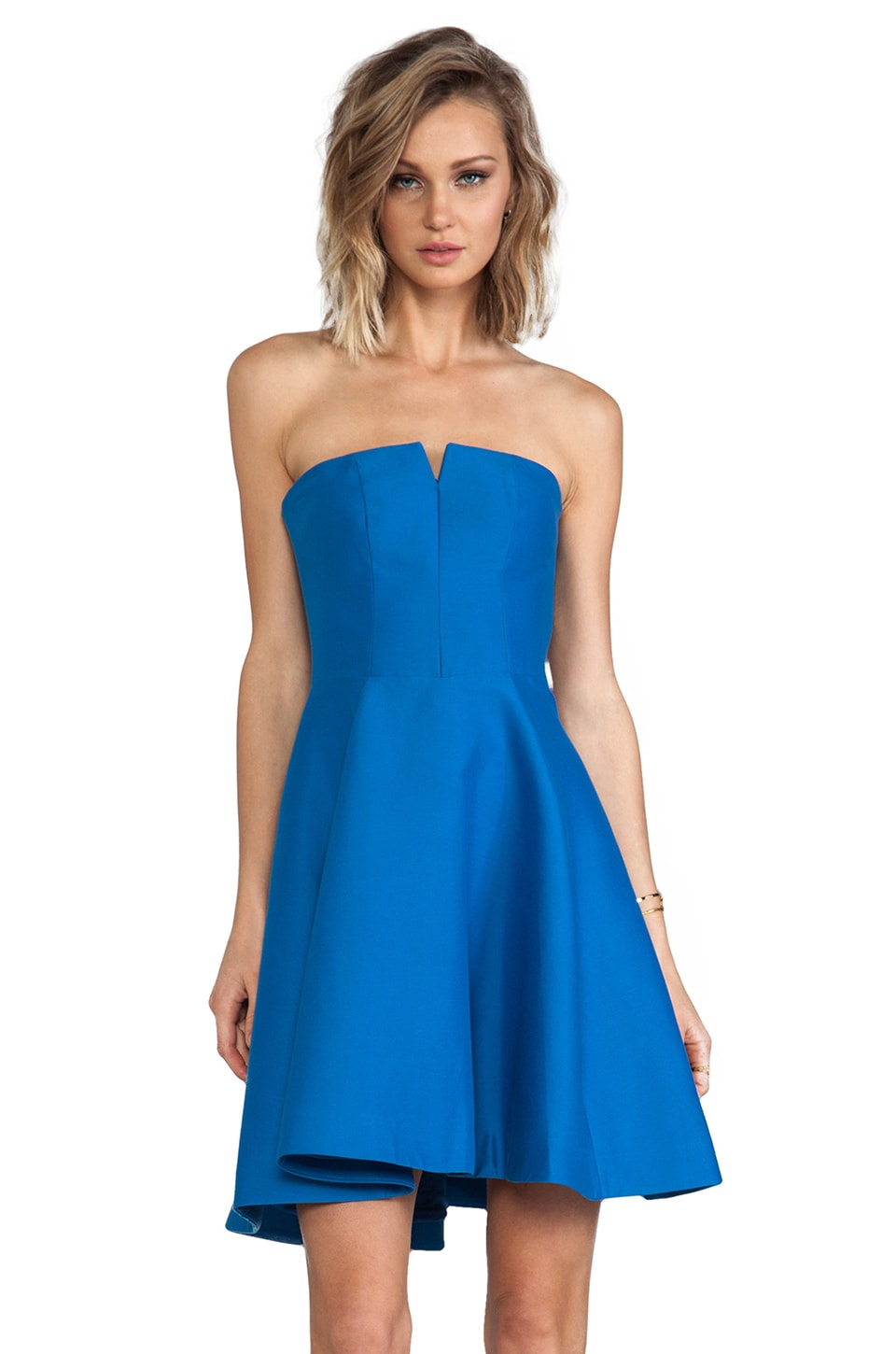 Halston Heritage Strapless Structured Dress With Flare Skirt in Aquamarine