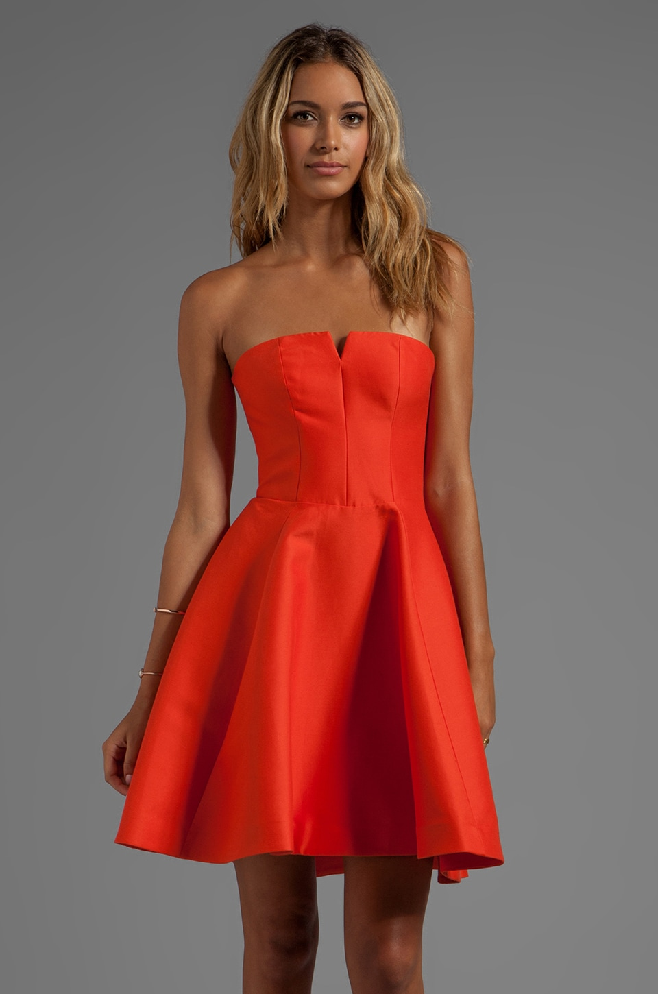Halston Heritage Strapless Structured Dress With Flare Skirt in Fire