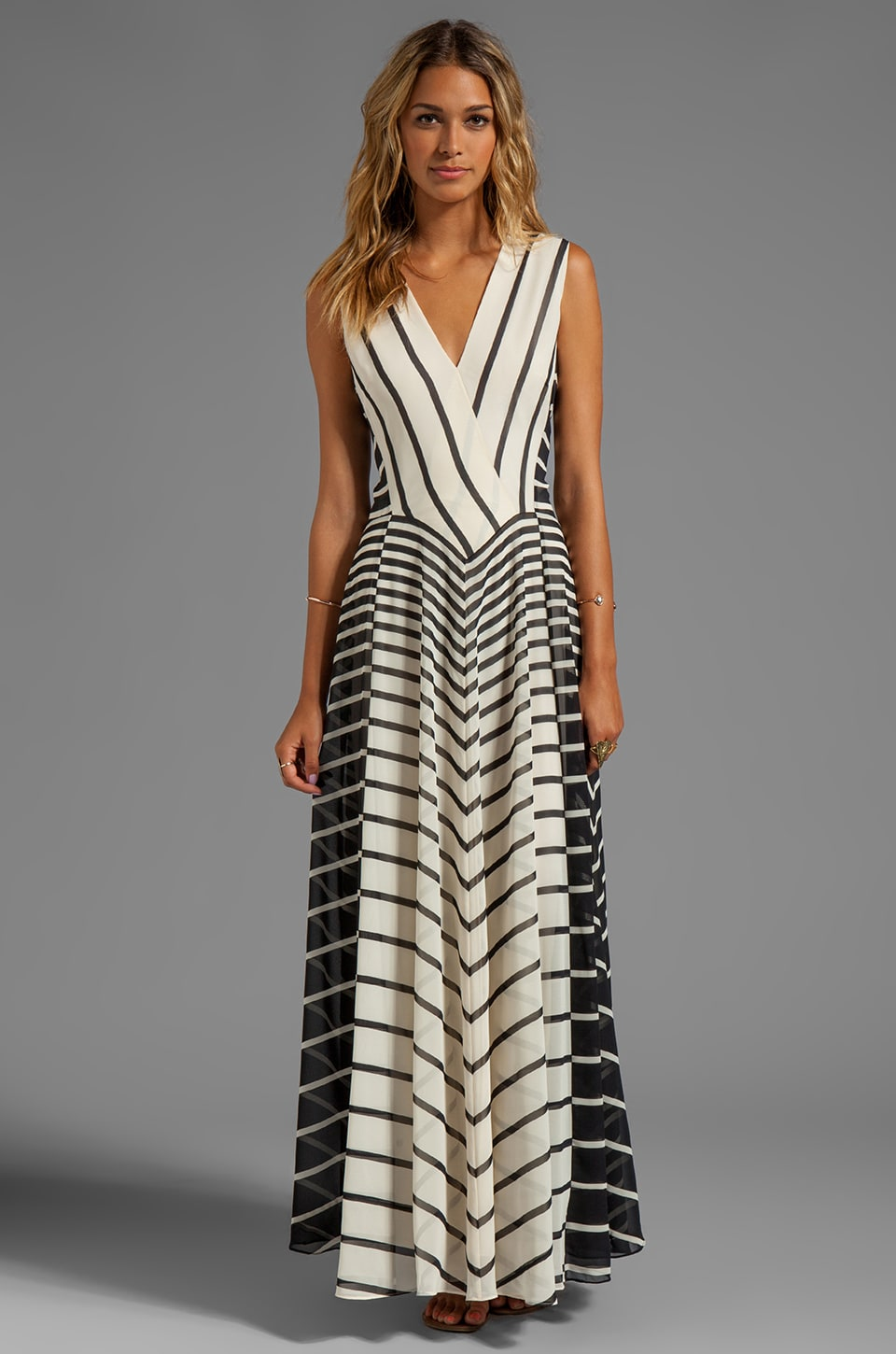 Halston Heritage Sleeveless A-Line Stripe Printed Gown in Black Stripe Print