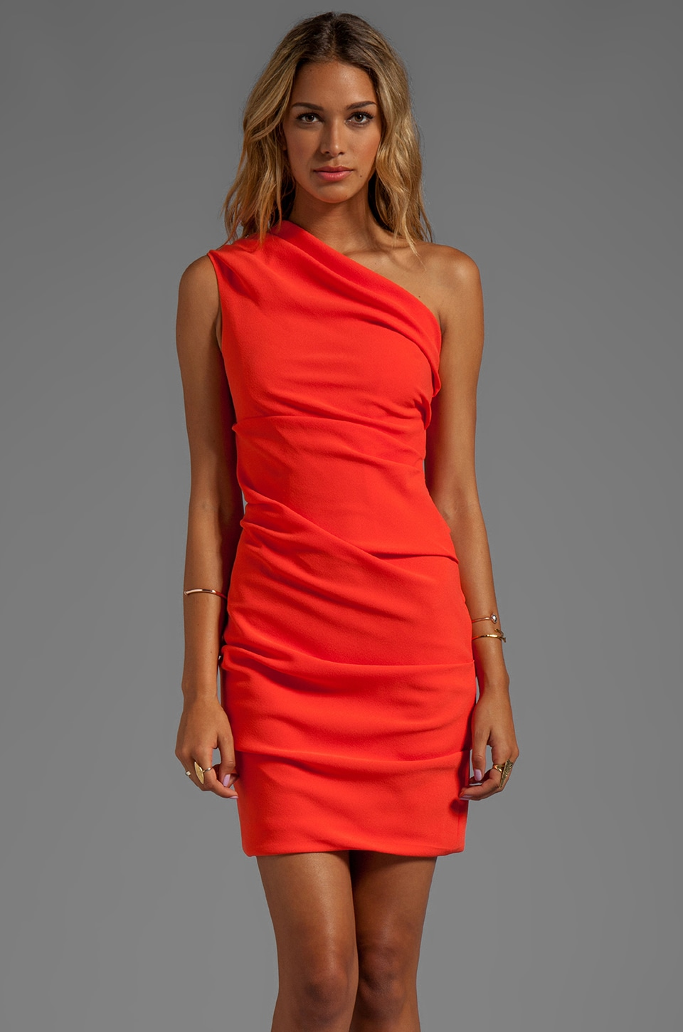 Halston Heritage One Shoulder Crepe Dress in Fire
