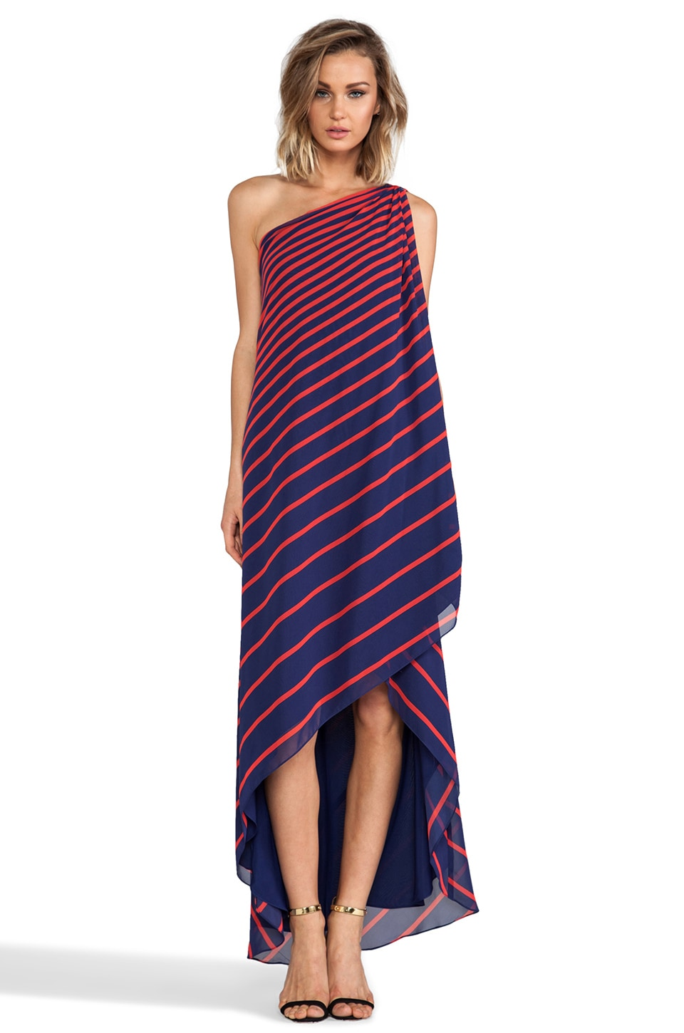 Halston Heritage One Shoulder Crepe Dress in Marine Stripe Print
