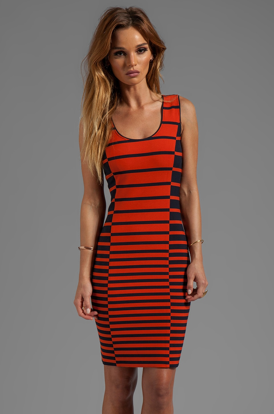 Halston Heritage Sleeveless Stripe Tank Dress in Dark Fire Stripe Print