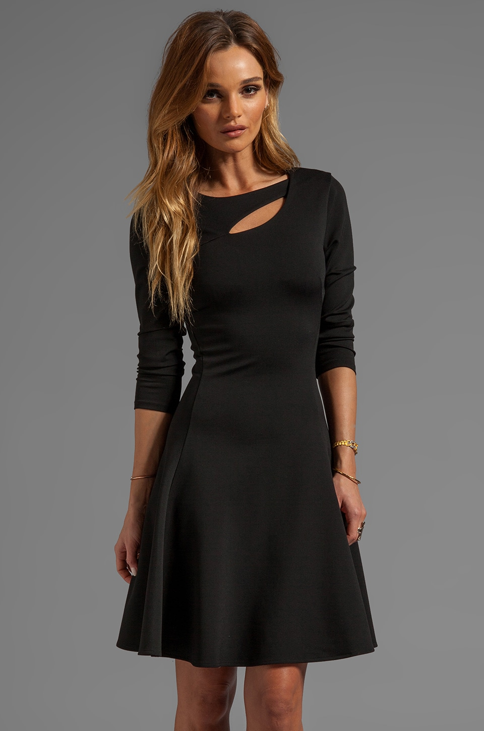 Halston Heritage 3/4 Sleeve Ponte Dress With Cut Out Detail in Black