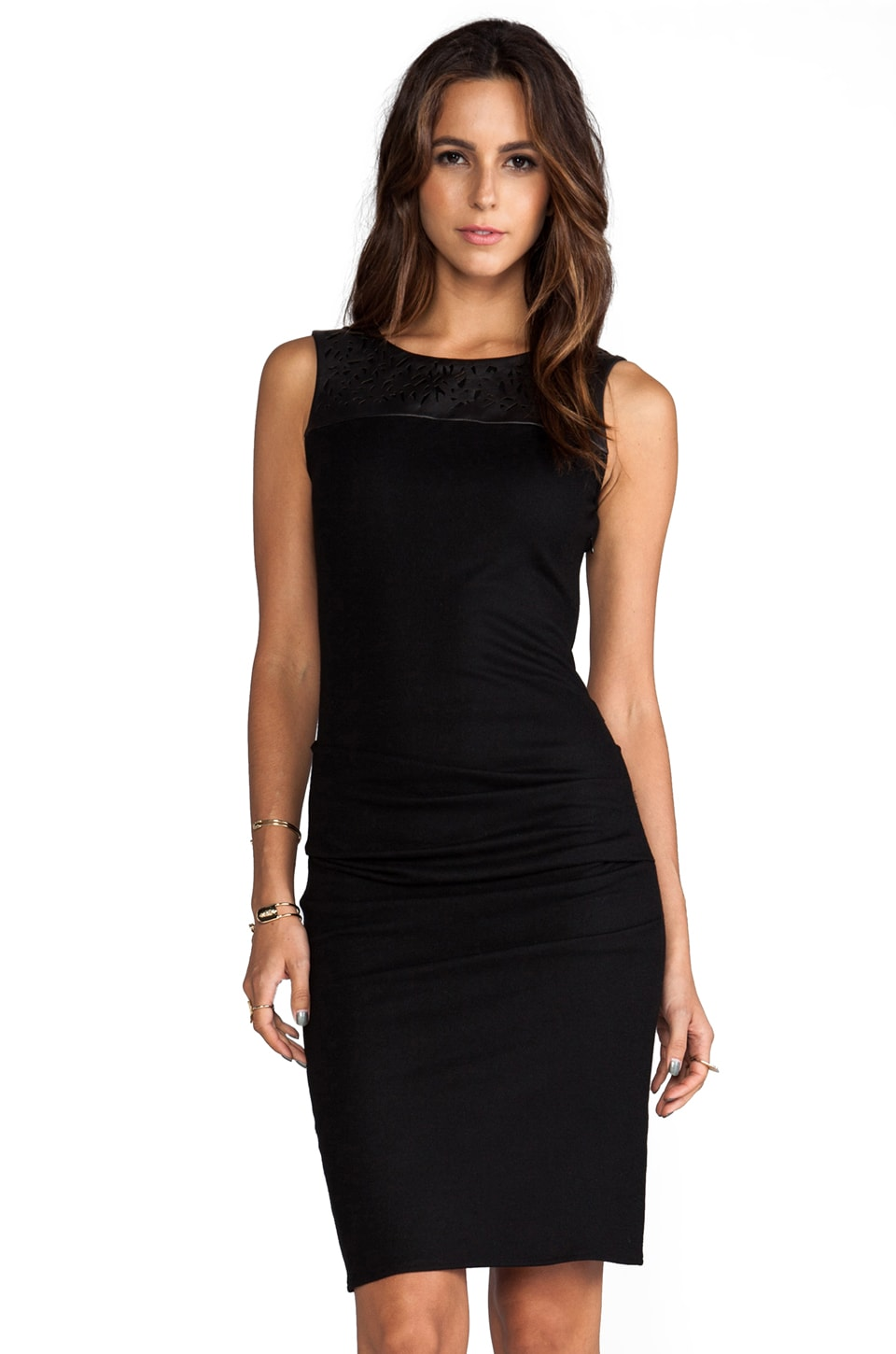 Halston Heritage Crewneck Dress with Leather Laser Cut in Black