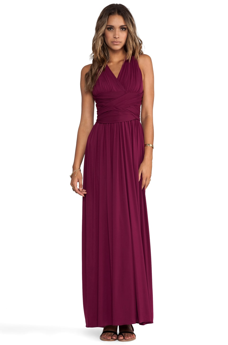 Halston Heritage V-Neck Gown with Crisscross Waist in Boysenberry