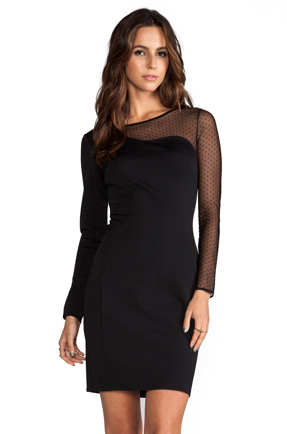 Halston Heritage Ponte Sheath Dress with Mesh Contrast in Black