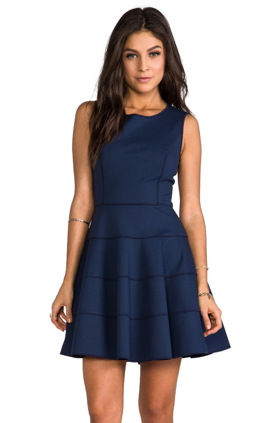 Halston Heritage Ponte Dress with Flare Skirt in Navy
