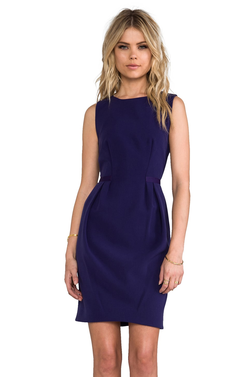 Halston Heritage Front Pleat Dress in Astral Blue