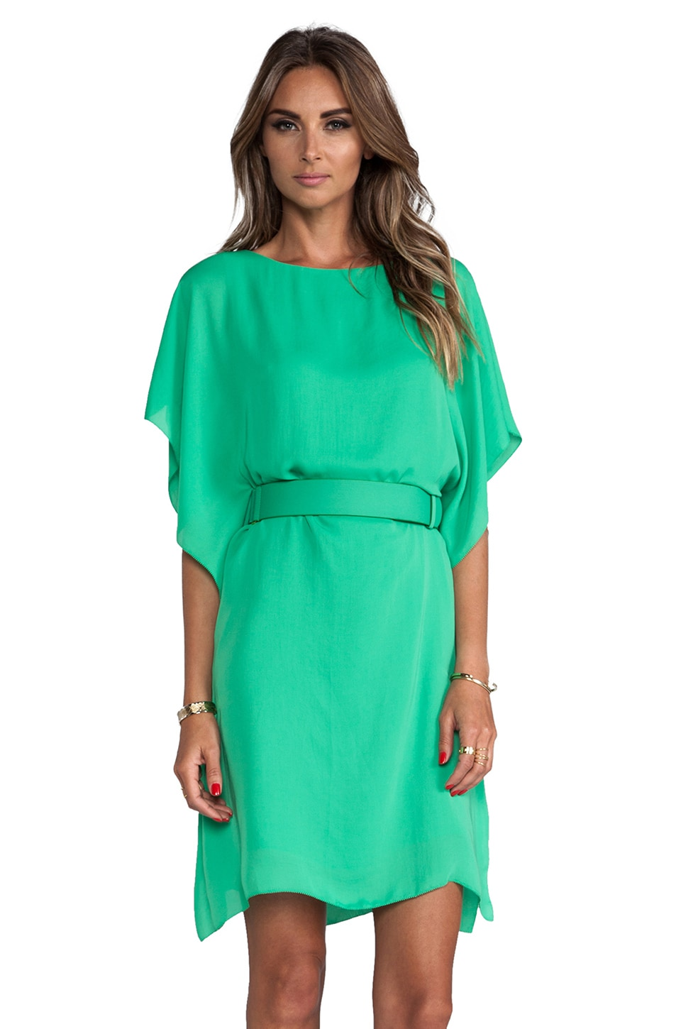Halston Heritage Boatneck Belted Dress in Grass