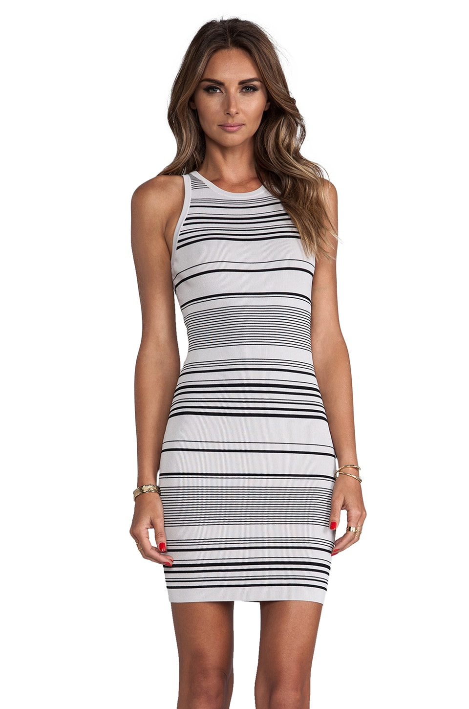 Halston Heritage Stripe Tank Sweater Dress in Flint & black