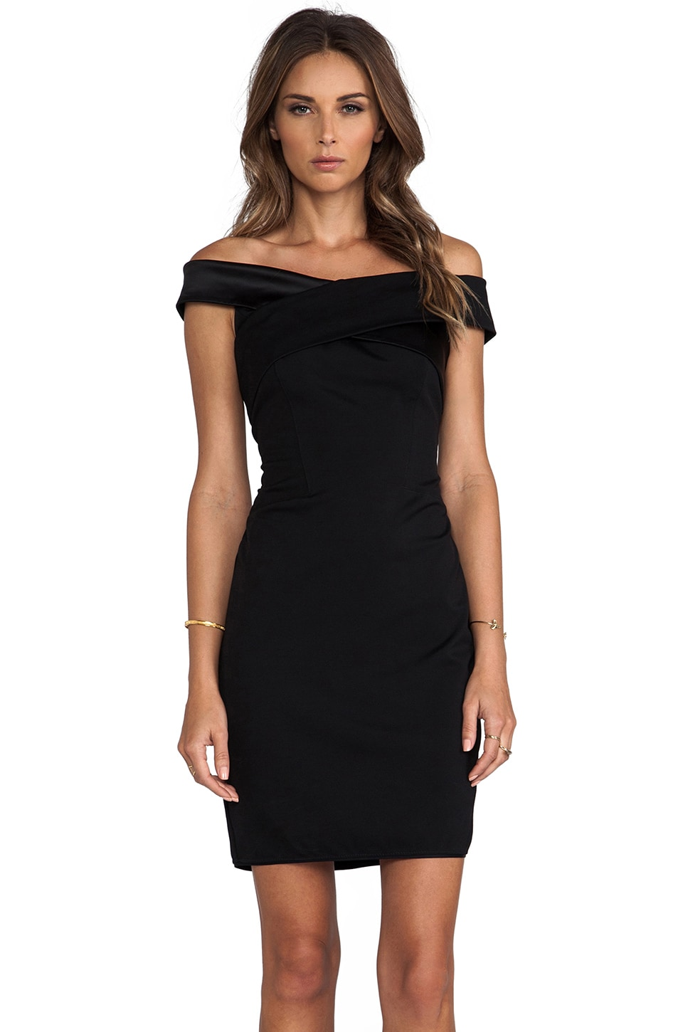 Halston Heritage Off Shoulder Dress with Crisscross Detail in Black