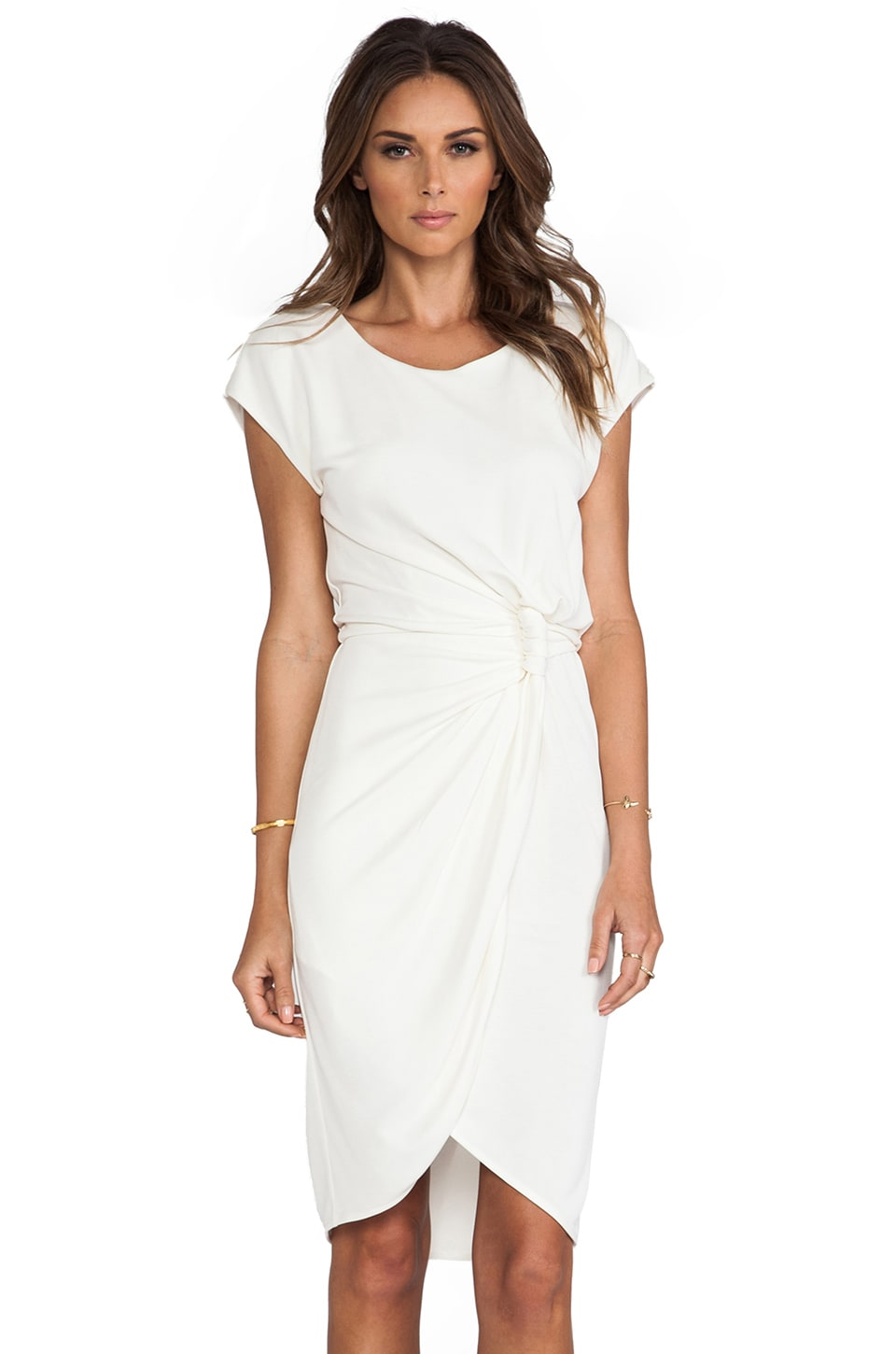 Halston Heritage Twist Knot Dress in Chalk