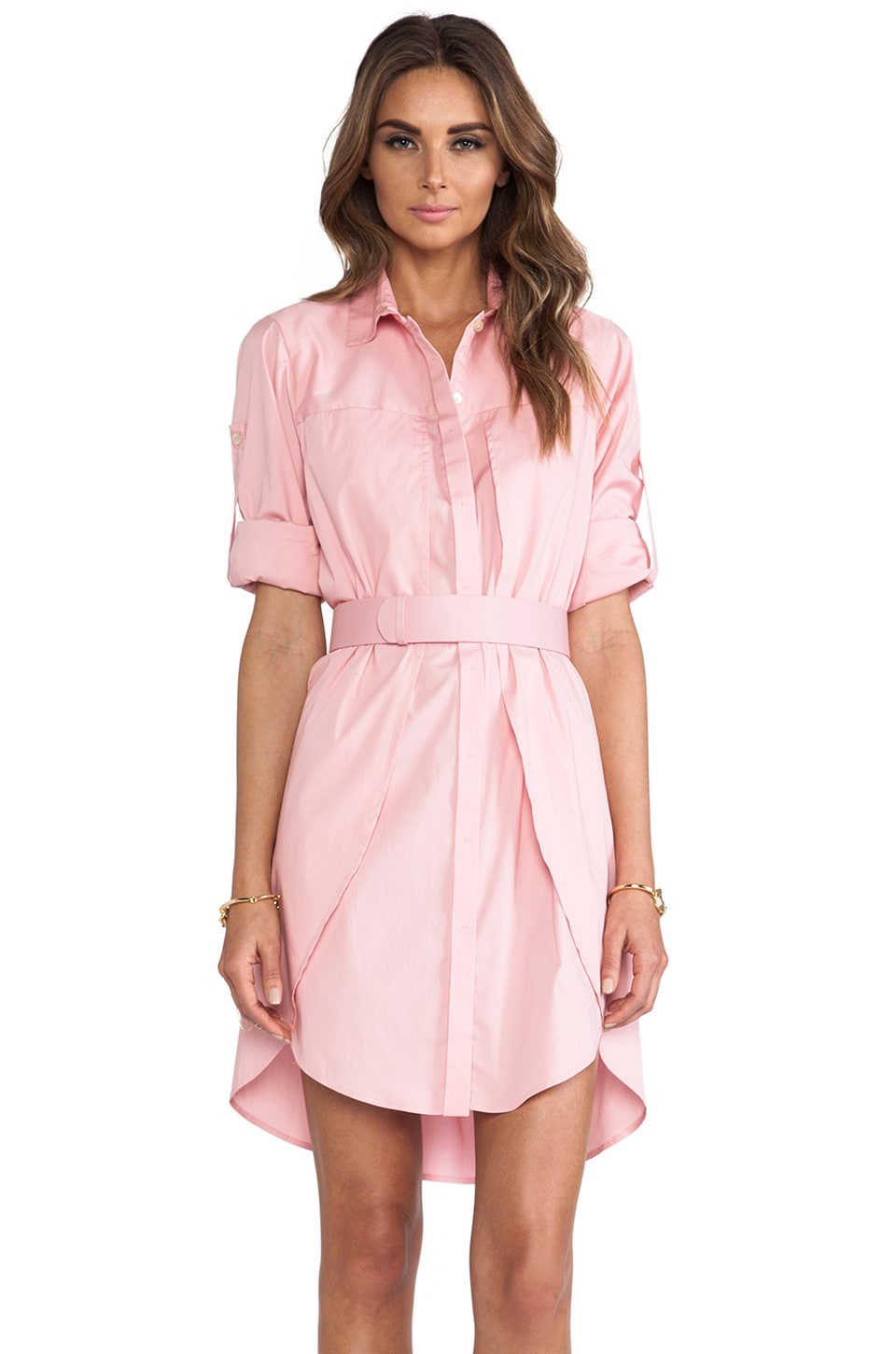 Halston Heritage Belted Shirt Dress in Cameo