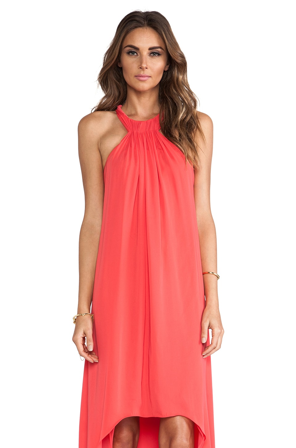 Halston Heritage Halter Neck Asymmetrical Gown in Coral