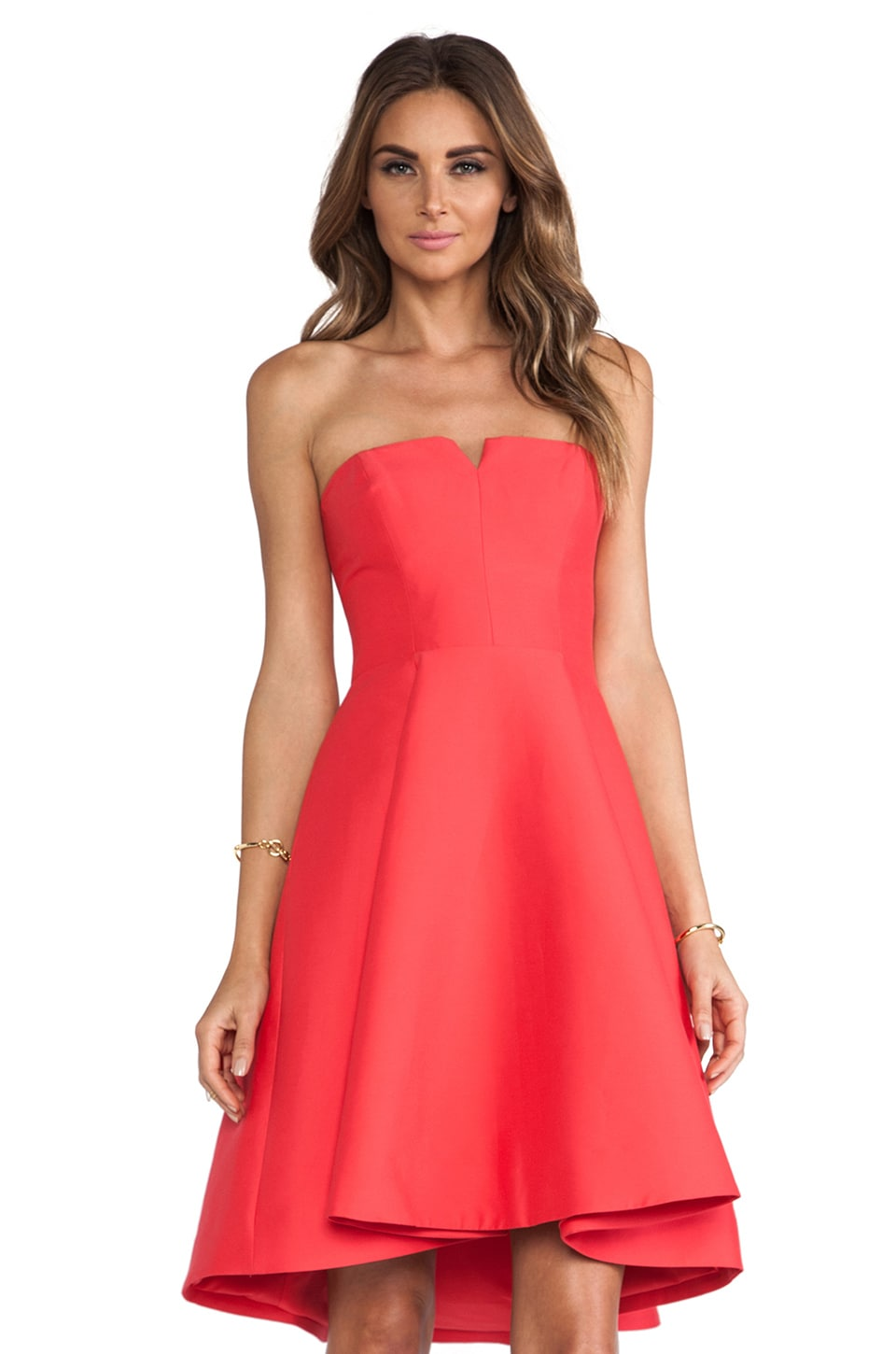 Halston Heritage Structured Flare Dress in Coral