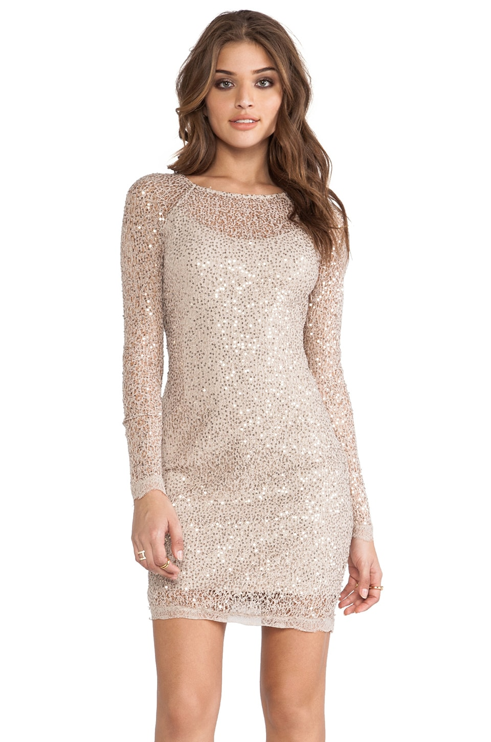 Halston Heritage Long Sleeve Sequin Dress in Gold