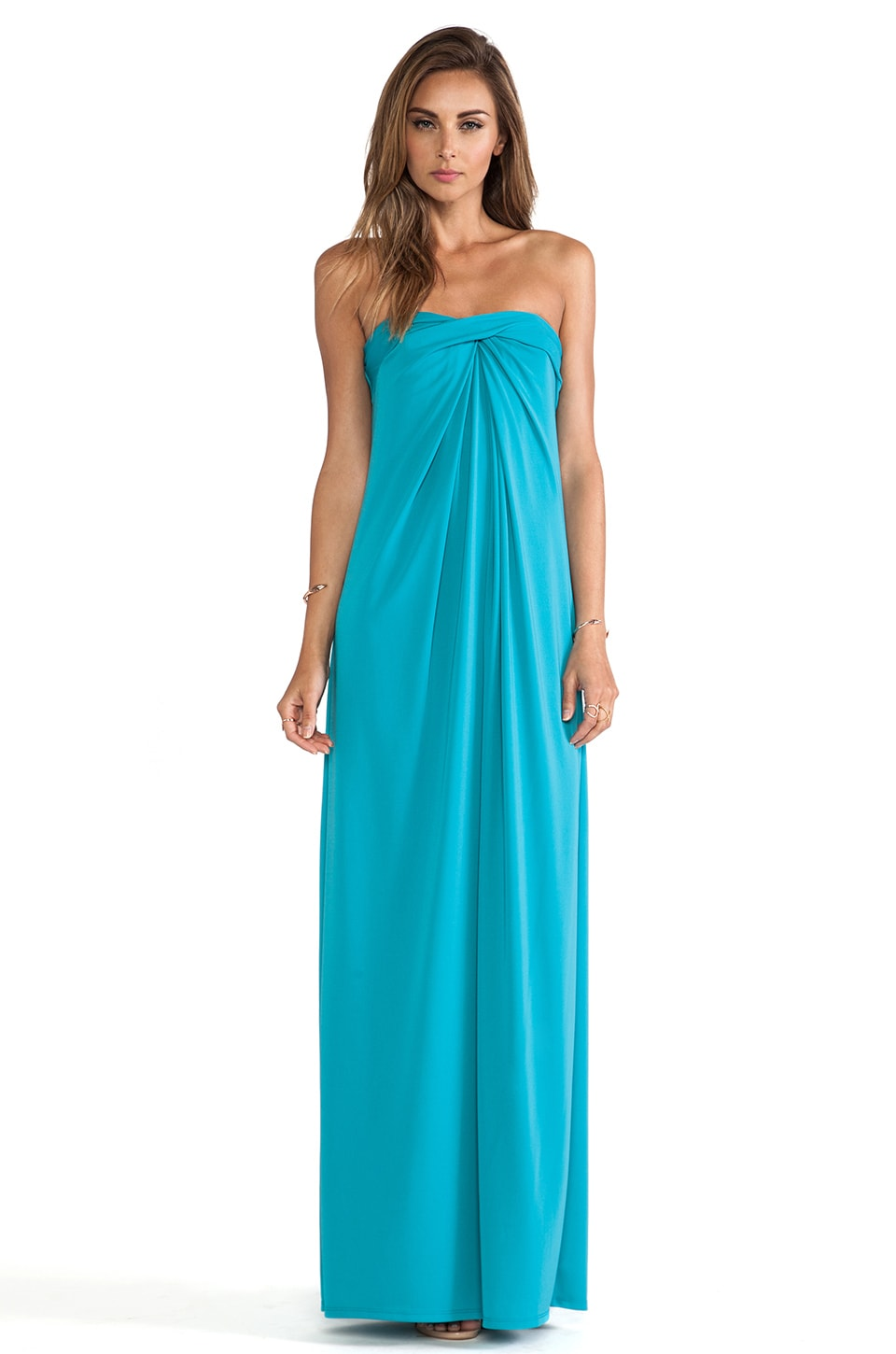 Halston Heritage Strapless Structured Dress with Flare Skirt in Caribbean