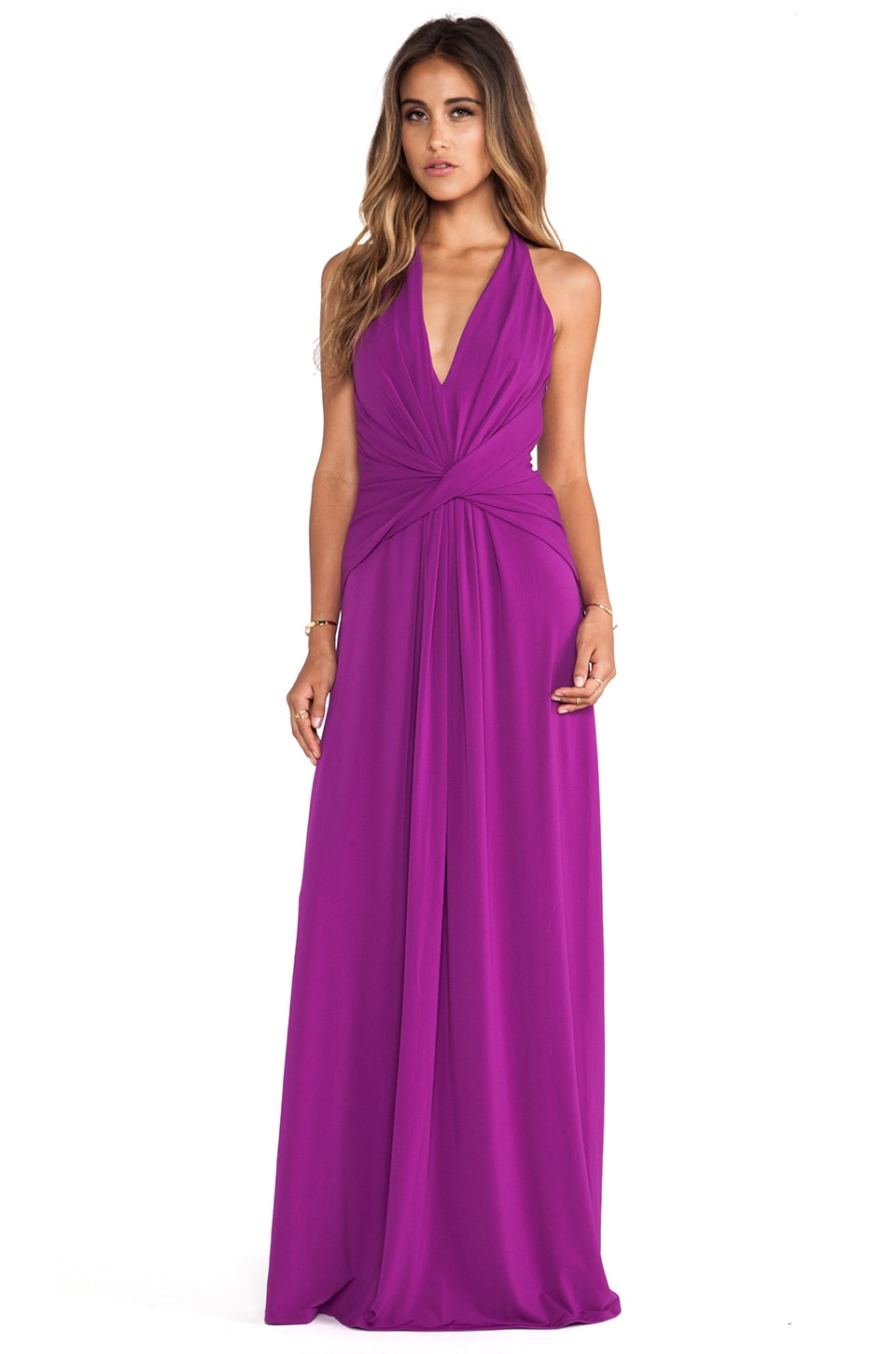 Halston Heritage Halter Gown in Electric Purple