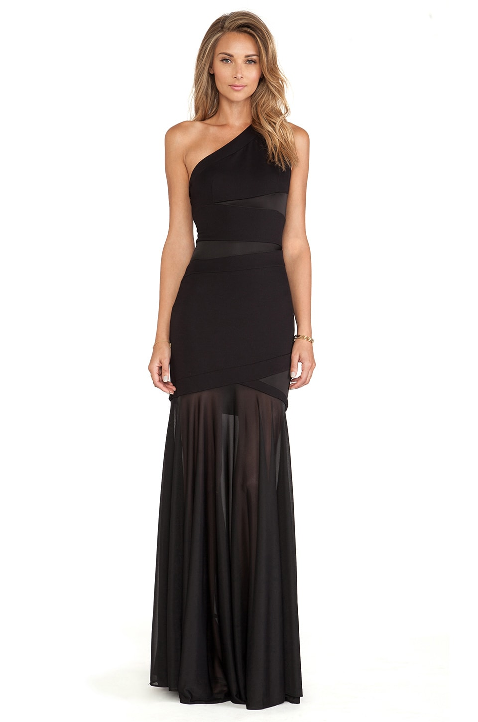 Halston Heritage One Shoulder Gown in Black