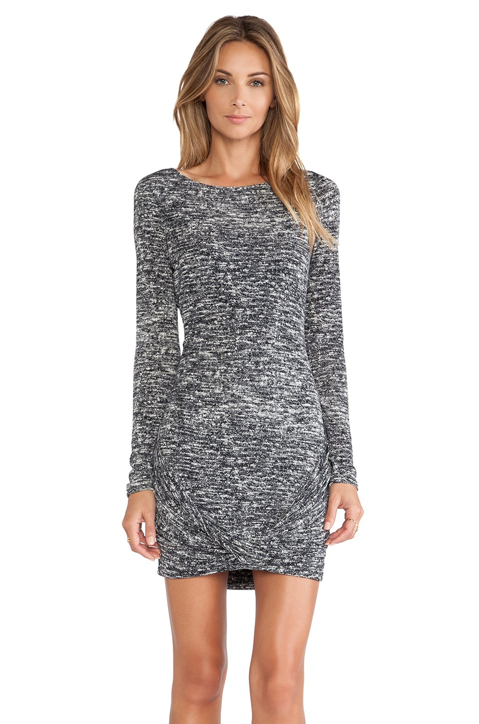 Halston Heritage Twist Drape Skirt Boatneck Dress in Grey Woven Slub Print
