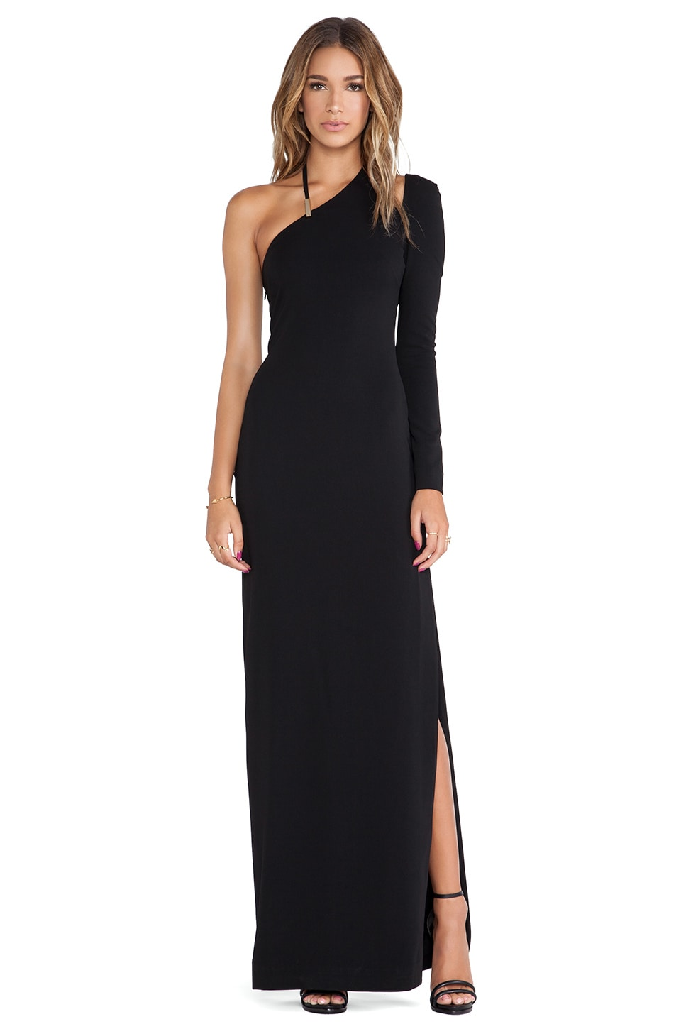 Halston Heritage Asymmetric Neck Gown in Black