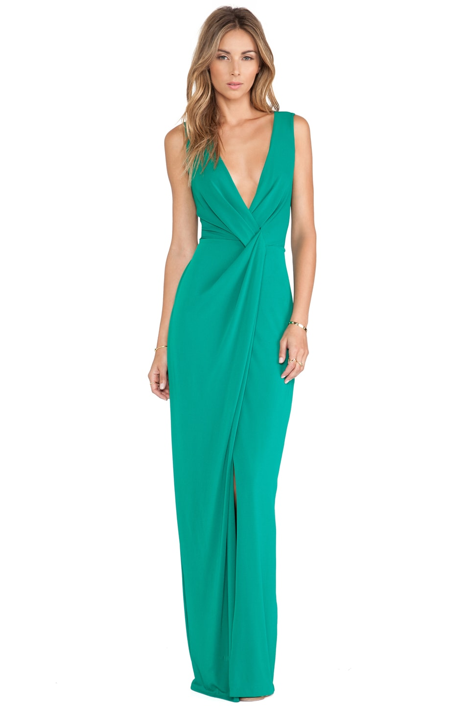 Halston Heritage Drape Front Gown in Emerald
