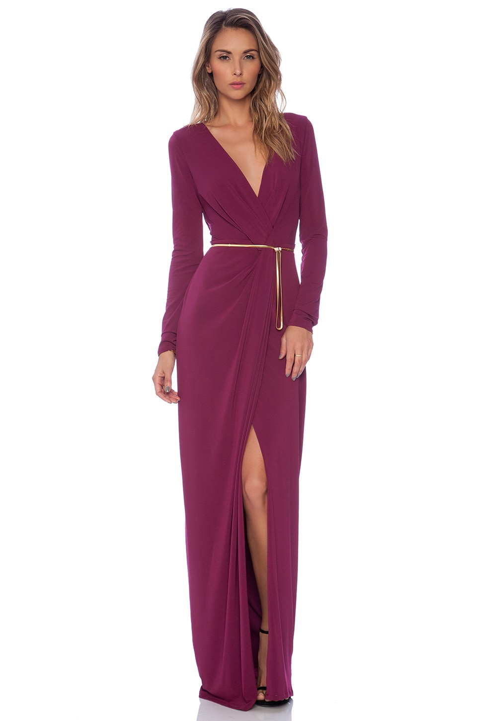 Halston Heritage Long Sleeve Cross Over V Neck Gown in Boysenberry