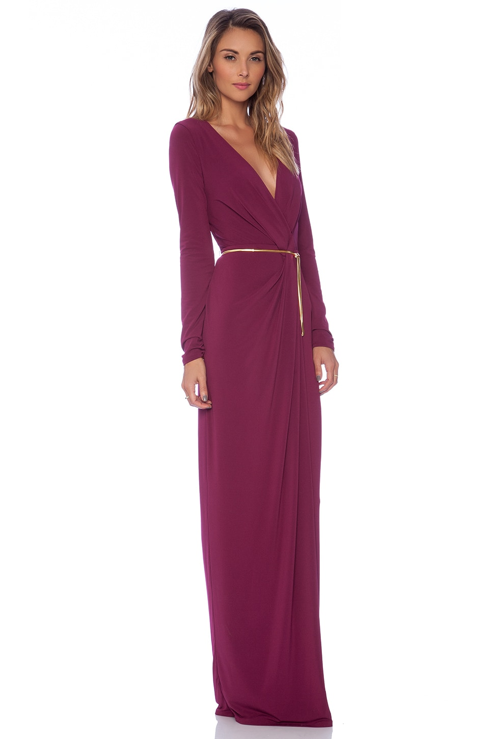 Halston Heritage Long Sleeve Cross Over V Neck Gown in Boysenberry ...