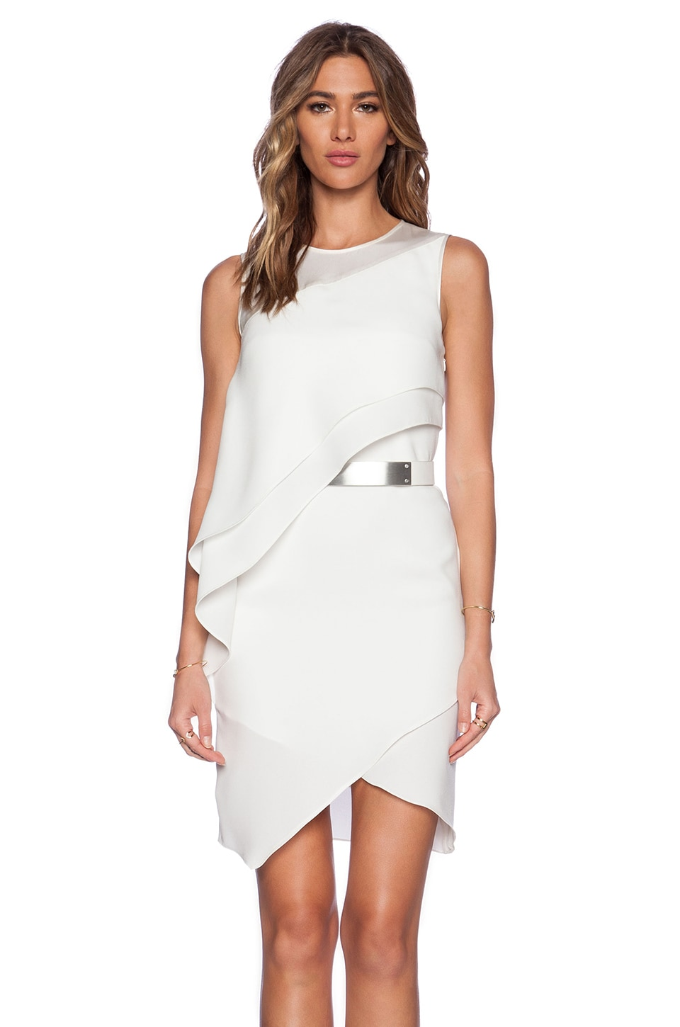 Halston Heritage Asymmetric Drape Dress in Bone | REVOLVE