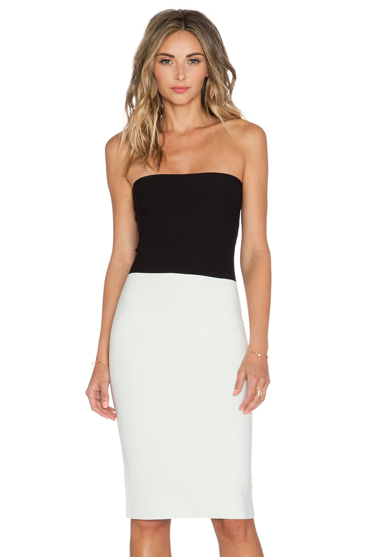 Halston Heritage Strapless Sweater Dress in Black & White | REVOLVE