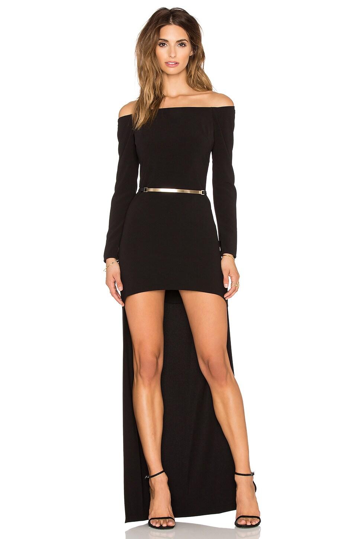 Halston Heritage Long Sleeve Hi-Low Gown in Black