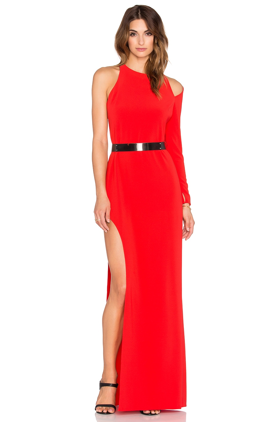 Halston Heritage Asymmetrical Embellished Gown in Lipstick