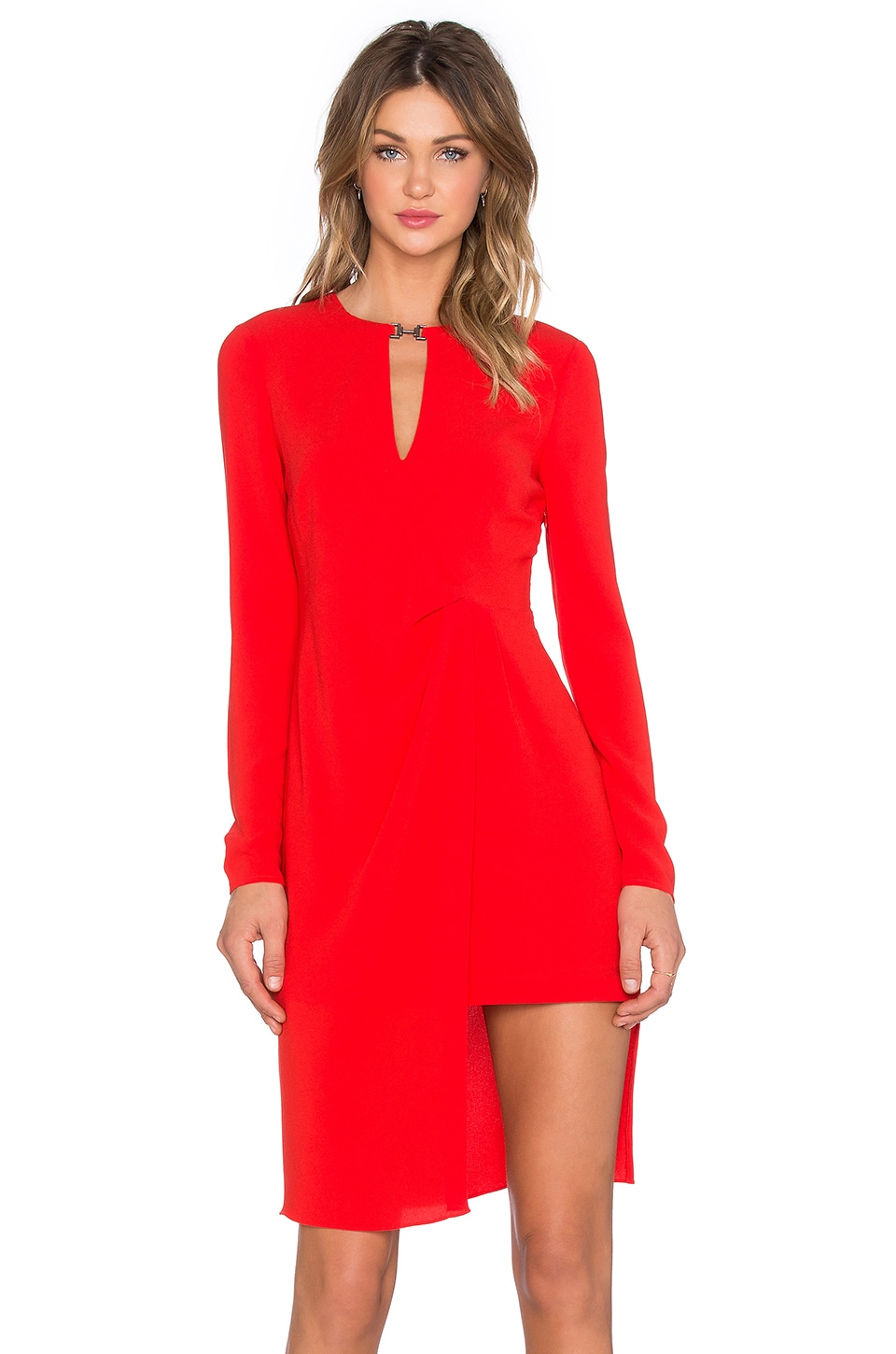 Halston Heritage Front Drape Long Sleeve Dress in Lipstick