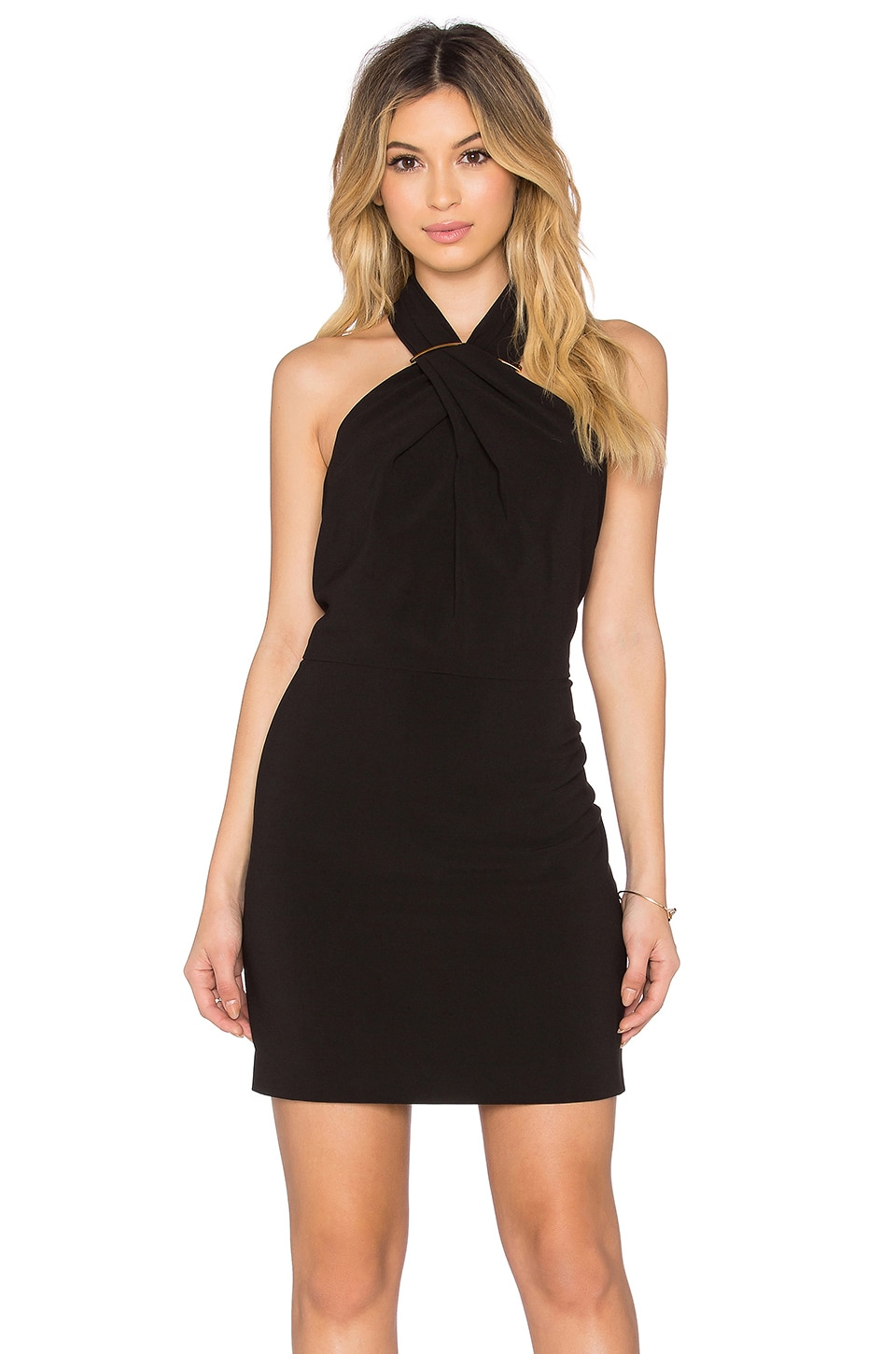 Halston Heritage Cross Neck Mini Dress in Black