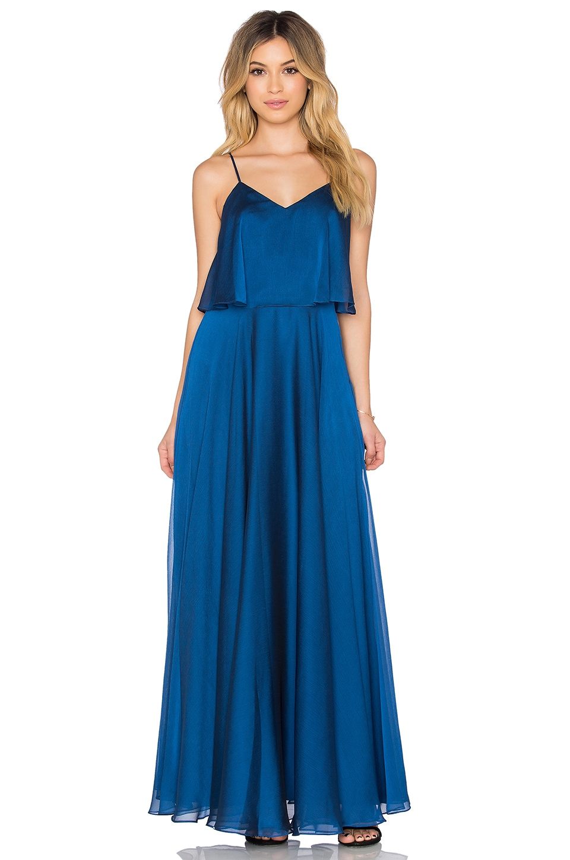 Halston Heritage Scoop Neck Ruffle Maxi Dress in Indigo | REVOLVE