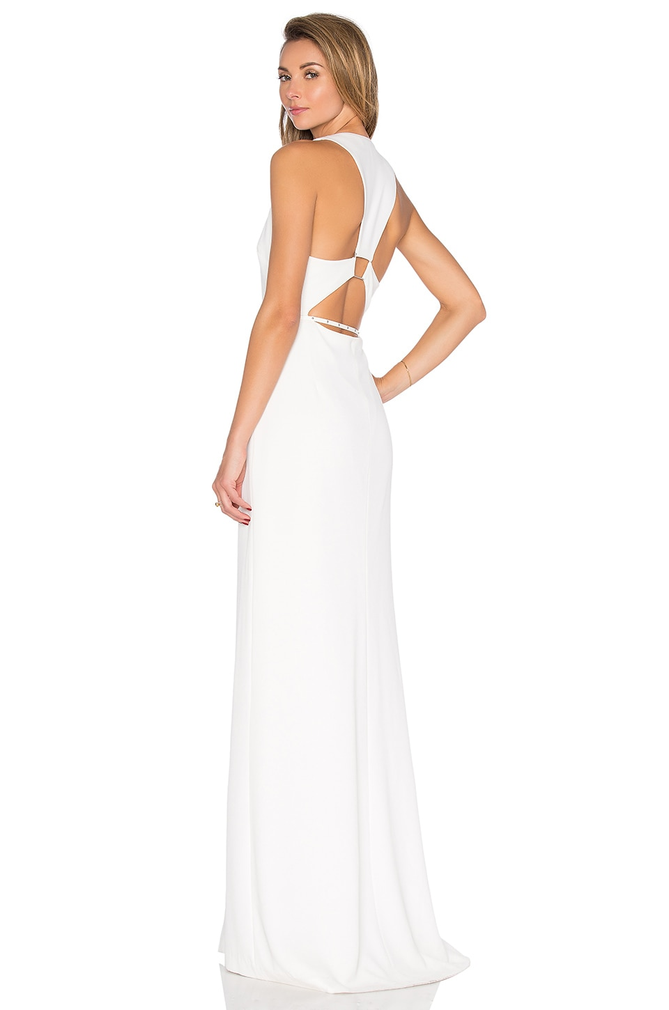 Halston Heritage Trapezoid Back Dress in Linen White | REVOLVE