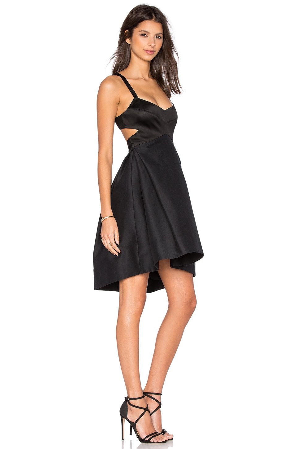 Halston Heritage Halter Cut Out Dress in Black