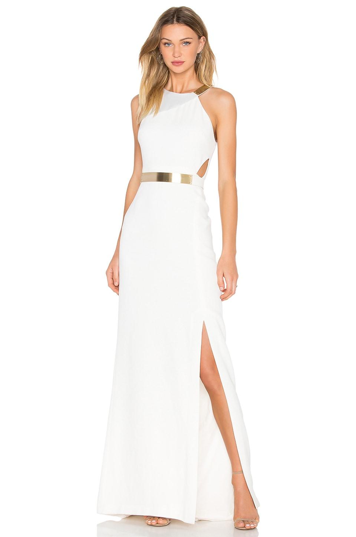 Halston Heritage Asymmetic Strap Dress in Eggshell