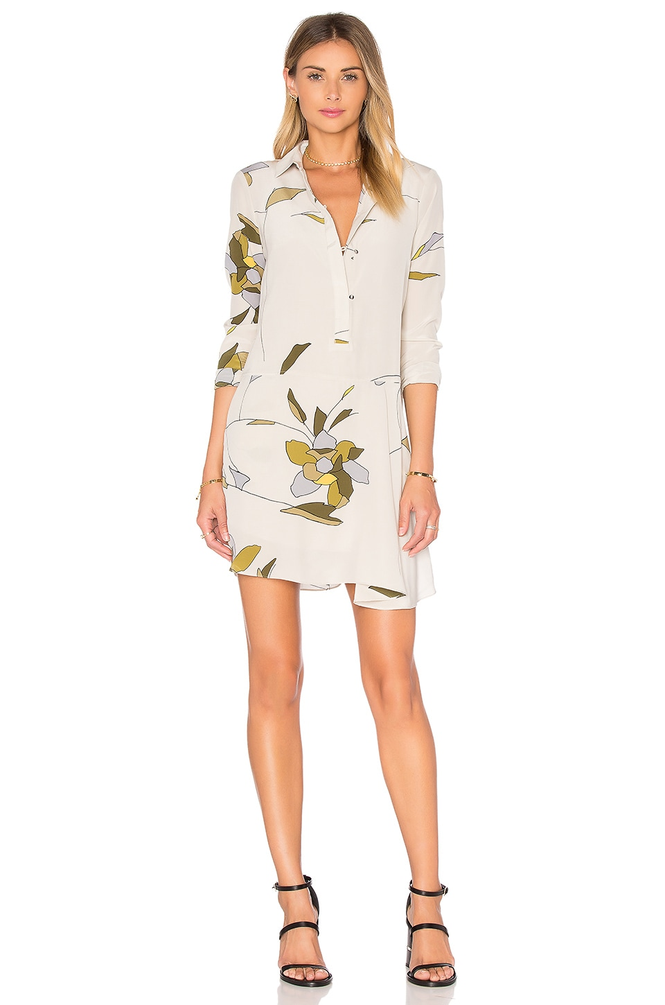 Long Sleeve Shirt Dress by Halston Heritage