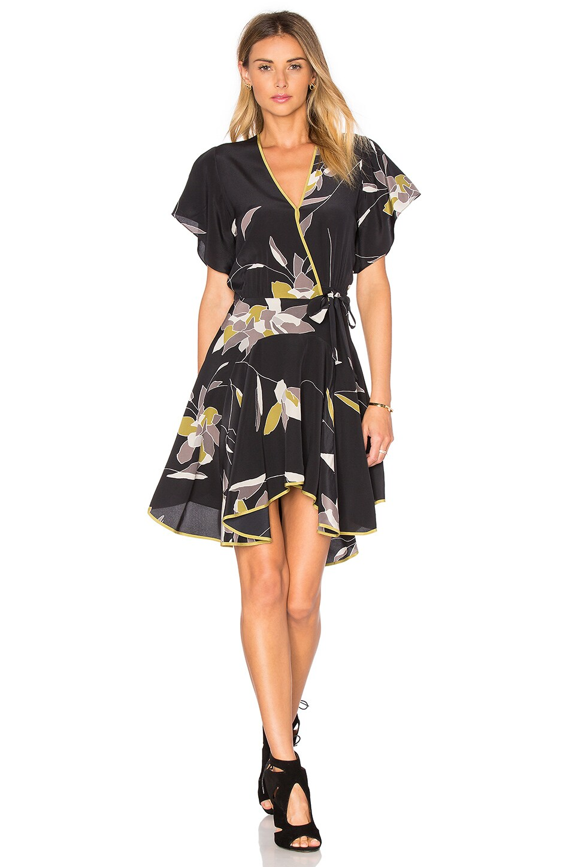 Halston Heritage V Neck Flounce Dress in Black Flowing Petals Print
