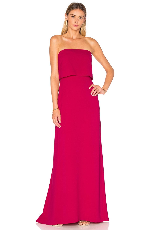 Halston Heritage Strapless Tiered Gown in Cerise | REVOLVE