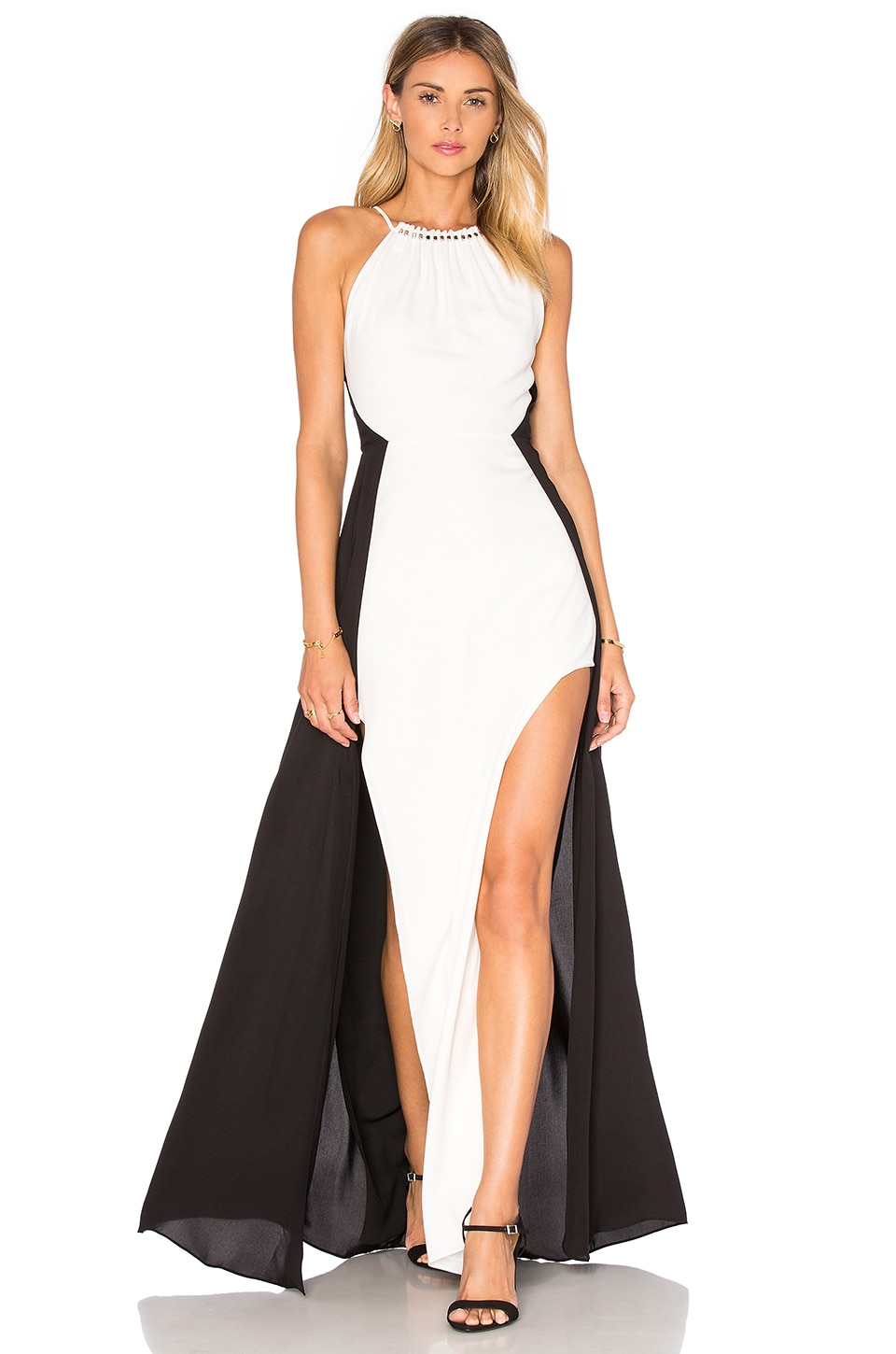 Halston Heritage Halter Colorblock Gown in Chalk & Black