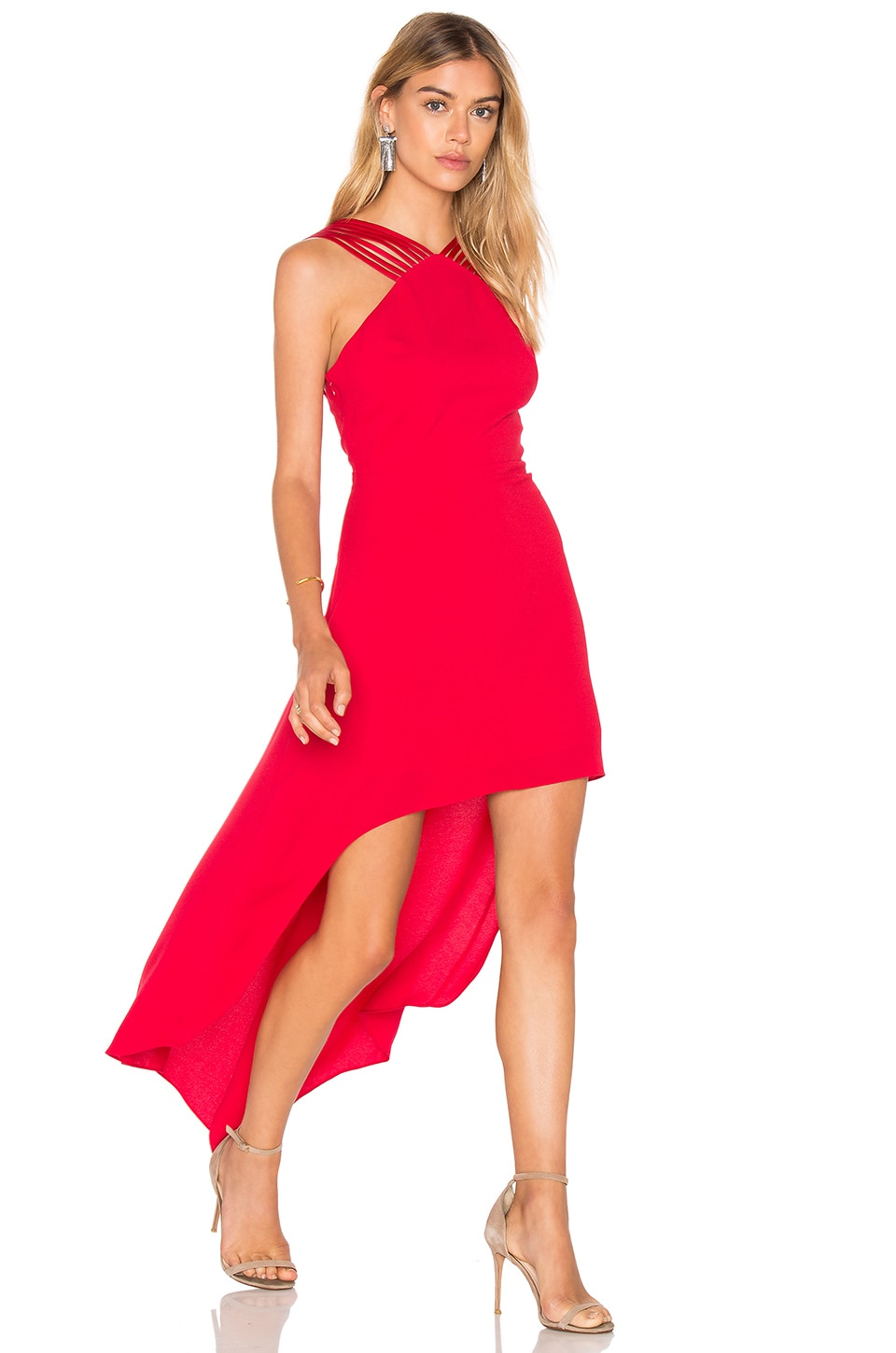 STRAPPY HALTER HI LO DRESS