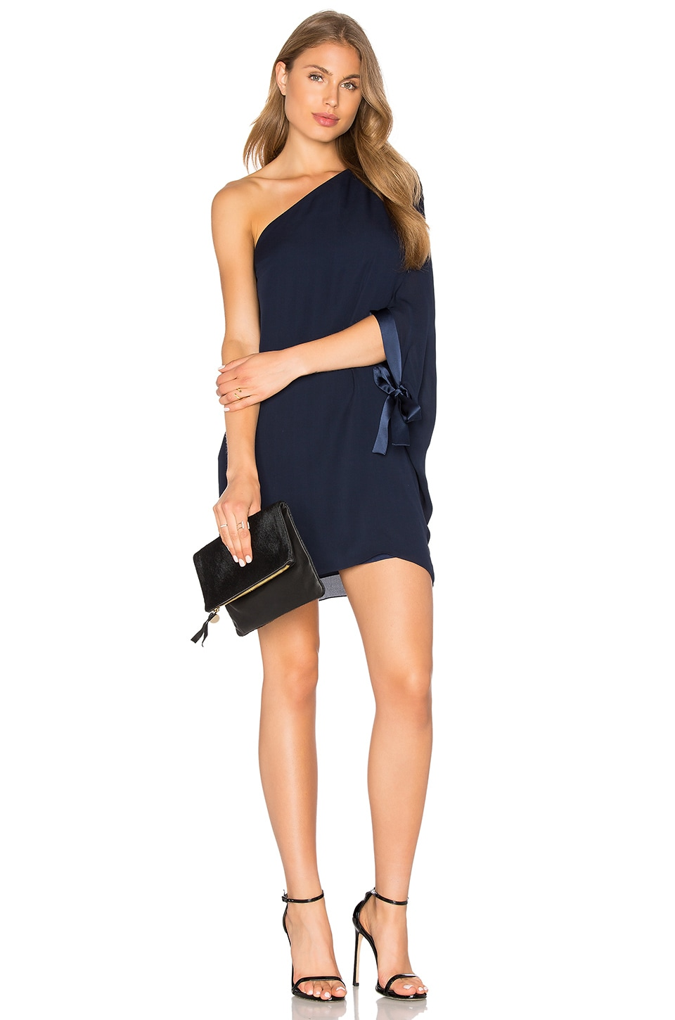 Halston Heritage Asymmetrical Sleeve Mini Dress in Dark Navy
